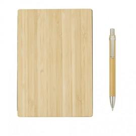 Блокнот с ручкой из бамбука