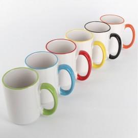 Чашка с цветными ручкой и ободком 425мл