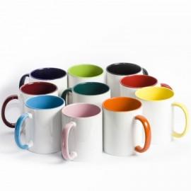 Чашка цветная внутри и ручка 330мл